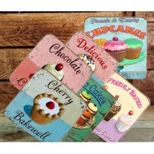 Σουβέρ Ξύλινα Χειροποίητα Cupcakes Σετ 6 τεμάχια 60050