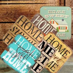 Σουβέρ Ξύλινα Χειροποίητα Home Sweet Home Σετ 6 τεμάχια 60060