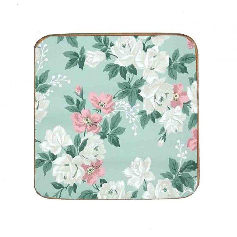Σουβέρ Ξύλινo Χειροποίητo Baby Blue Floral 10014