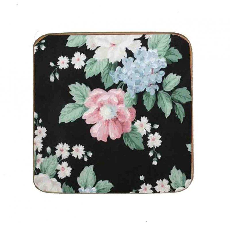 Σουβέρ Ξύλινo Χειροποίητo Black Floral  10013