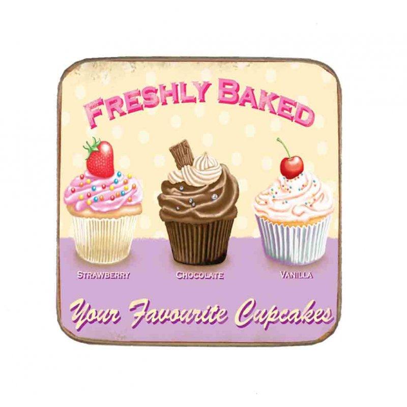 Σουβέρ Ξύλινo Χειροποίητo Freshly Baked Cupcakes  10055