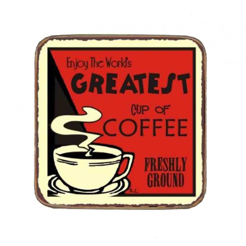 Σουβέρ Ξύλινo Χειροποίητo Greatest Cup Of Coffee  10041