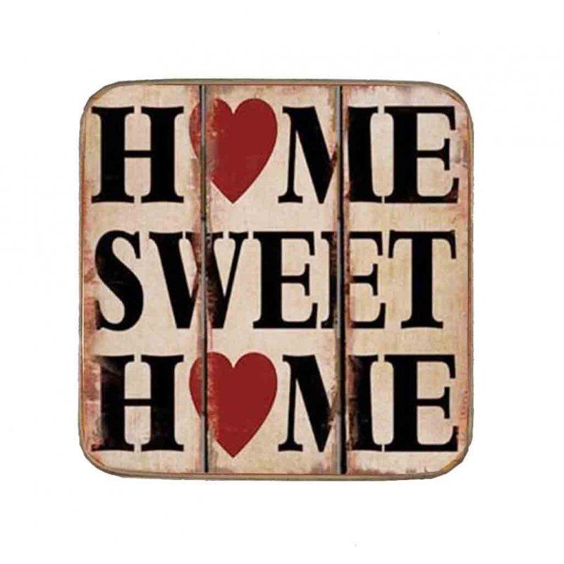 Σουβέρ Ξύλινo Χειροποίητo Home Sweet Home  10062