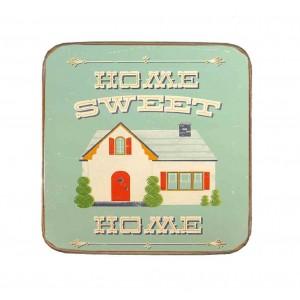 Σουβέρ Ξύλινo Χειροποίητo Home Sweet Home  10063