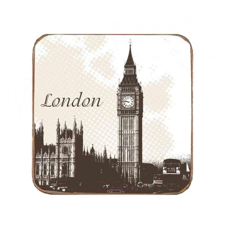 Σουβέρ Ξύλινo Χειροποίητo London  10072