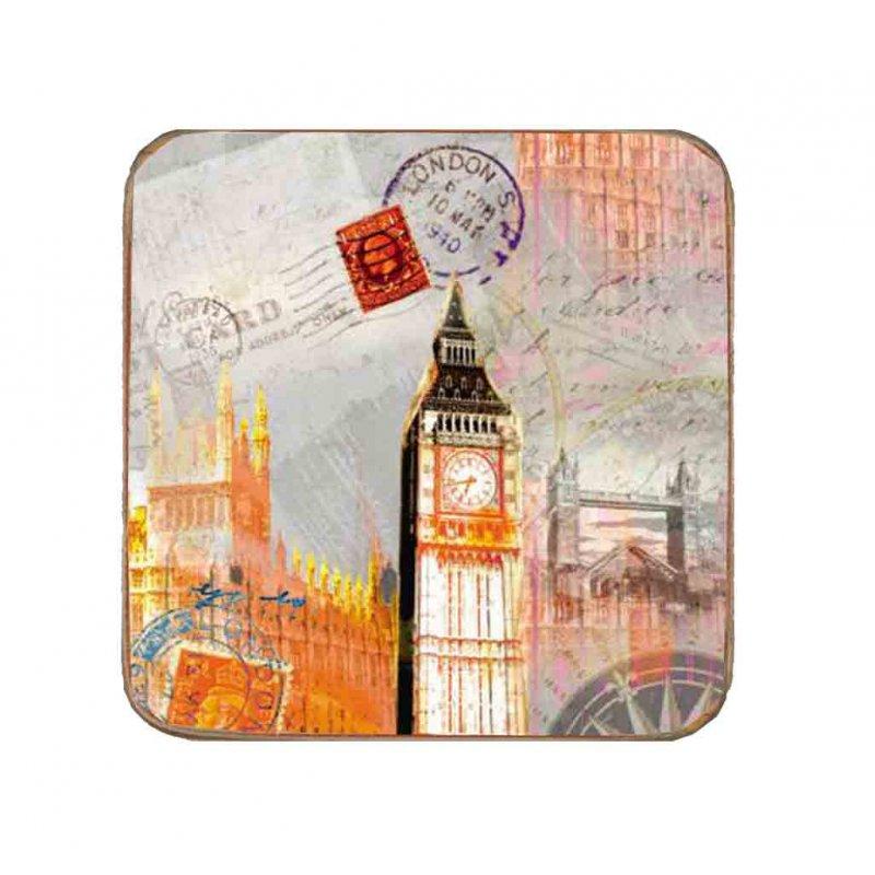Σουβέρ Ξύλινo Χειροποίητo London Postcard  10071