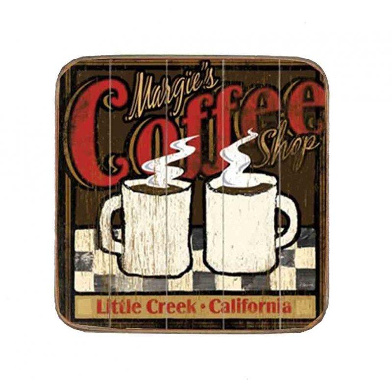 Σουβέρ Ξύλινo Χειροποίητo Margie's Coffee  10044