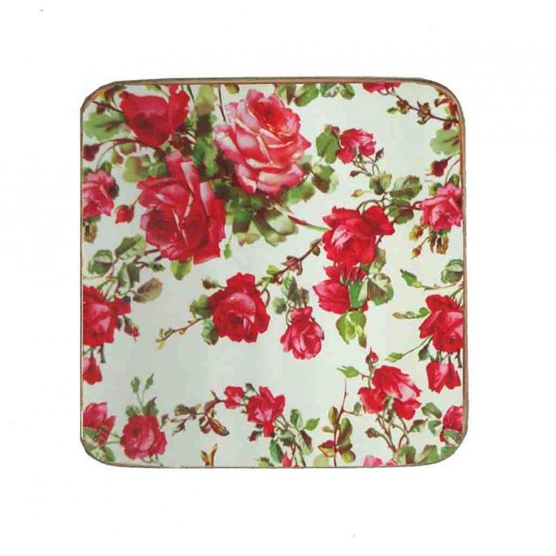 Σουβέρ Ξύλινo Χειροποίητo Red Floral  10012