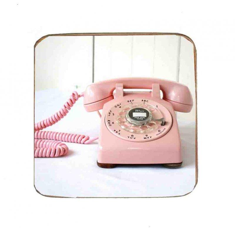 Σουβέρ Ξύλινo Χειροποίητo Retro Pink Phone  10111