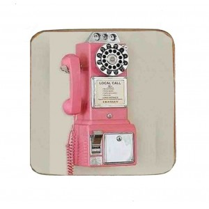 Σουβέρ Ξύλινo Χειροποίητo Retro Pink Phone  10114