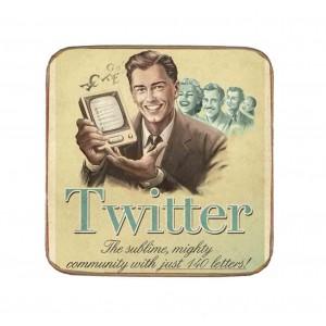 Σουβέρ Ξύλινo Χειροποίητo Retro Web: Twitter  10163
