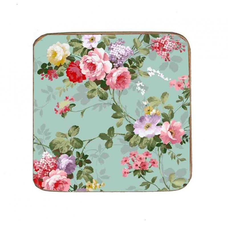 Σουβέρ Ξύλινo Χειροποίητo Roses Floral 10016