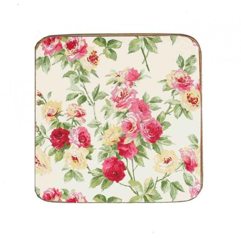Σουβέρ Ξύλινo Χειροποίητo White Floral 10017
