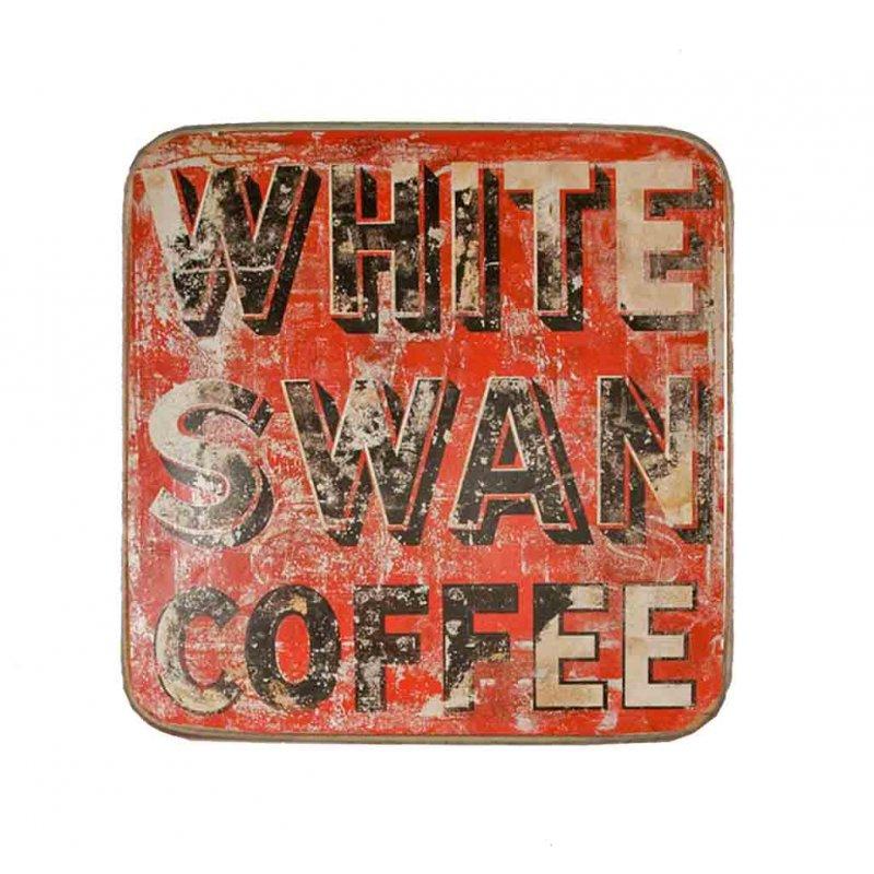Σουβέρ Ξύλινo Χειροποίητo White Swan Coffee  10045