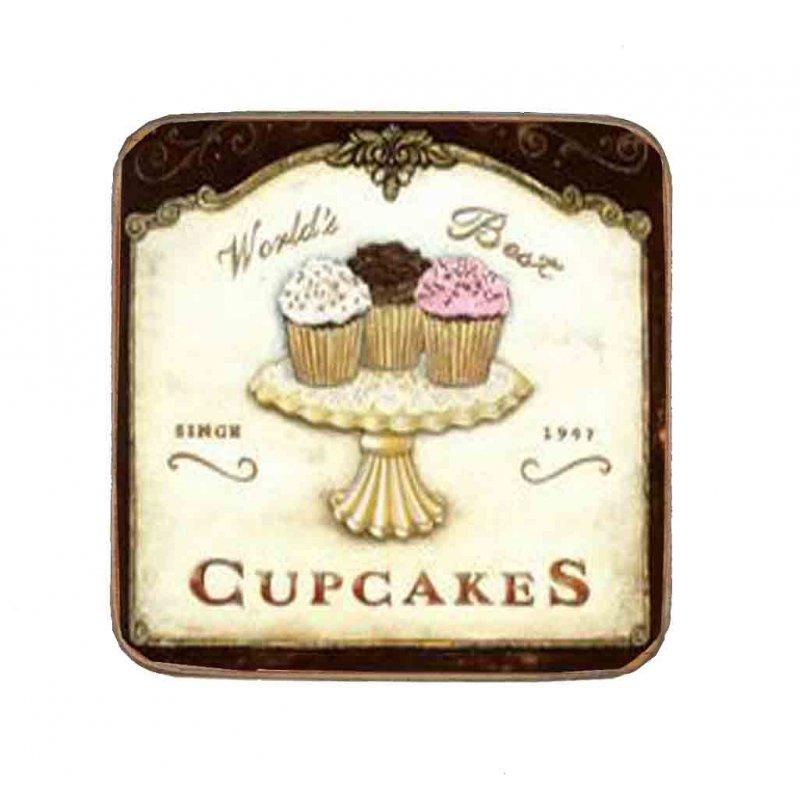 Σουβέρ Ξύλινo Χειροποίητo World's Best Cupcakes  10052