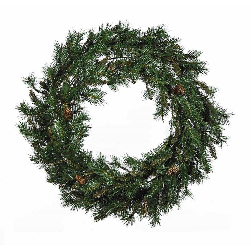 Brown Fir Χριστουγεννιάτικο στεφάνι πράσινο με διάμετρο 90εκ