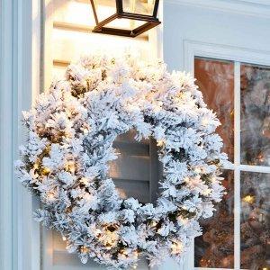 XXL Χριστουγεννιάτικο στεφάνι χιονισμένο flocked με διάμετρο 120εκ