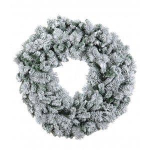Χριστουγεννιάτικο στεφάνι χιονισμένο flocked με διάμετρο 90 εκ