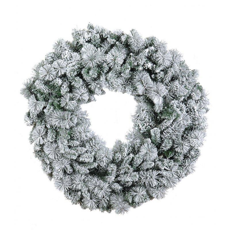 Χριστουγεννιάτικο στεφάνι χιονισμένο flocked με διάμετρο 90εκ