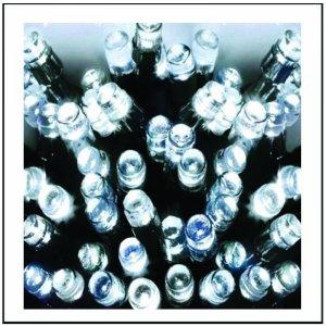 100 LED Εξωτ. χώρου με επέκταση, Λευκό καουτσούκ - Λευκό ψυχρό φως 10m C/W