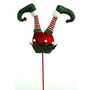Χριστουγεννιάτικο πικ πόδια ξωτικού με ριγέ κάλτσες σε κόκκινο και λευκό μοτίβο 81 εκ