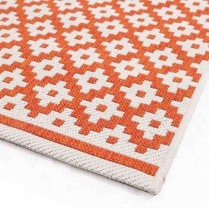 Ethnic ψάθινο χαλί Flox σε πορτοκαλί χρώμα με λευκά σχέδια