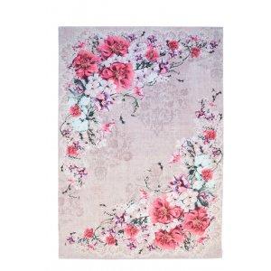 Rose βαμβακερό χαλί μπεζ γκρι λουλούδια στην άκρη