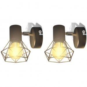 Απλίκα Τοίχου 2 τεμ. Βιομηχανικό Στιλ Μαύρο με Λαμπτήρα LED Filament