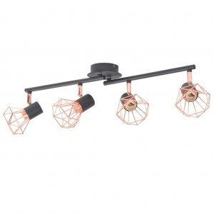 Φωτιστικό Οροφής με 4 Σποτ Ε14 Μαύρο και Χάλκινο