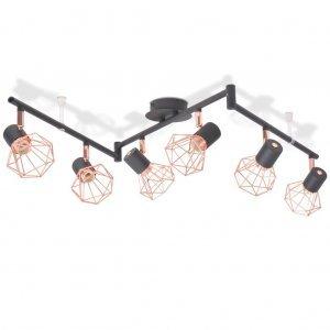 Φωτιστικό Οροφής Ράγα με 6 Σποτ Ε14 Μαύρο και Χάλκινο