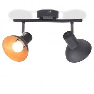 Φωτιστικό Οροφής Ράγα για 2 Λαμπτήρες E27 Μαύρο / Χρυσαφί
