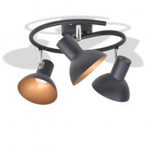 Φωτιστικό Οροφής Ράγα για 3 Λαμπτήρες E27 Μαύρο / Χρυσαφί