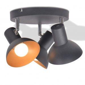 Φωτιστικό Οροφής για 3 Λαμπτήρες E27 Μαύρο / Χρυσαφί