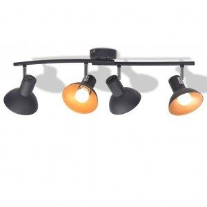 Φωτιστικό Οροφής Ράγα για 4 Λαμπτήρες E27 Μαύρο / Χρυσαφί