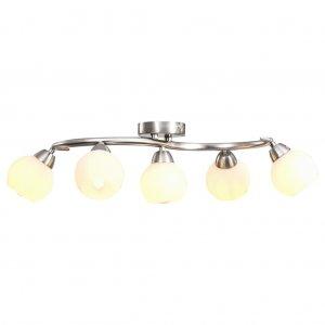 Φωτιστικό Οροφής με Κεραμικά Λευκά Κοίλα Καπέλα 5 Λαμπτήρες Ε14
