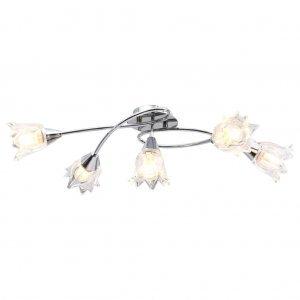 Φωτιστικό Οροφής Διαφανή Γυάλινα Καπέλα-Τουλίπα 5 Λαμπτήρες Ε14