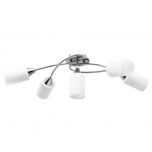 Φωτιστικό Οροφής Κεραμικά Λευκά Κυλινδρικά Καπέλα 5 Λάμπες Ε14