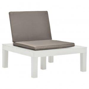 Καρέκλες Κήπου 2 τεμ. Λευκές Πλαστικές με Μαξιλάρια