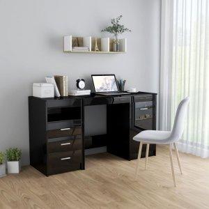 Γραφείο Γυαλιστερό Μαύρο 140 x 50 x 76 εκ. από Μοριοσανίδα