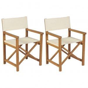 Καρέκλες Σκηνοθέτη Πτυσσόμενες 2 τεμ. από Μασίφ Ξύλο Teak