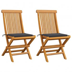 Καρέκλες Κήπου 2 τεμ. από Μασίφ Ξύλο Teak με Ανθρακί Μαξιλάρια