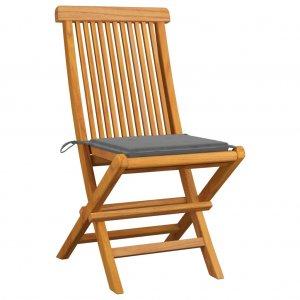 Καρέκλες Κήπου 2 τεμ. από Μασίφ Ξύλο Teak με Γκρι Μαξιλάρια