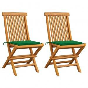 Καρέκλες Κήπου 2 τεμ. από Μασίφ Ξύλο Teak με Πράσινα Μαξιλάρια