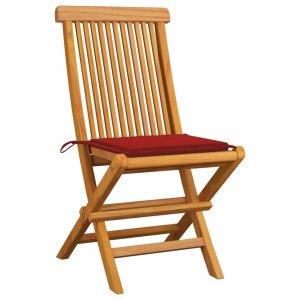 Καρέκλες Κήπου 2 τεμ. από Μασίφ Ξύλο Teak με Κόκκινα Μαξιλάρια