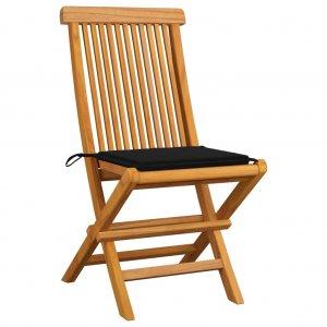 Καρέκλες Κήπου 2 τεμ. από Μασίφ Ξύλο Teak με Μαύρα Μαξιλάρια
