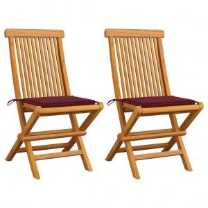 Καρέκλες Κήπου 2 τεμ. από Μασίφ Ξύλο Teak με Μπορντό Μαξιλάρια