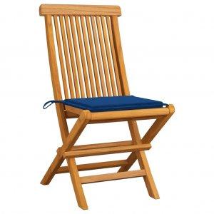Καρέκλες Κήπου 2 τεμ. Μασίφ Ξύλο Teak με Μπλε Ρουά Μαξιλάρια