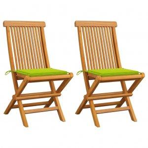 Καρέκλες Κήπου 2 τεμ. Μασίφ Ξύλο Teak Φωτεινά Πράσινα Μαξιλάρια