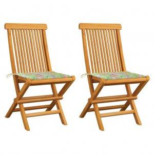 Καρέκλες Κήπου 2 τεμ. Μασίφ Teak & Μαξιλάρια με Σχέδιο Φύλλων