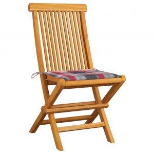 Καρέκλες Κήπου 2 τεμ. Μασίφ Ξύλο Teak με Κόκκινα Καρό Μαξιλάρια